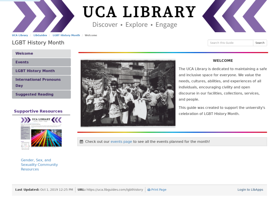 Screenshot of the UCA Library LGBT History Guide